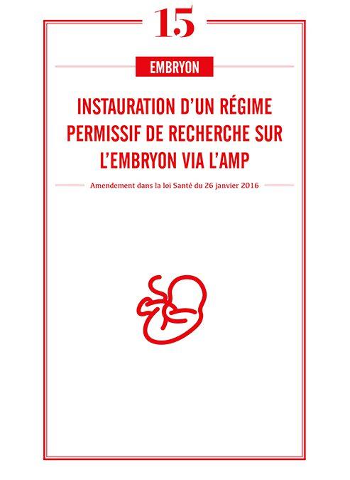 INSTAURATION D'UN REGIME PERMISSIF DE RECHERCHE SUR L'EMBRYON VIA L'AMP