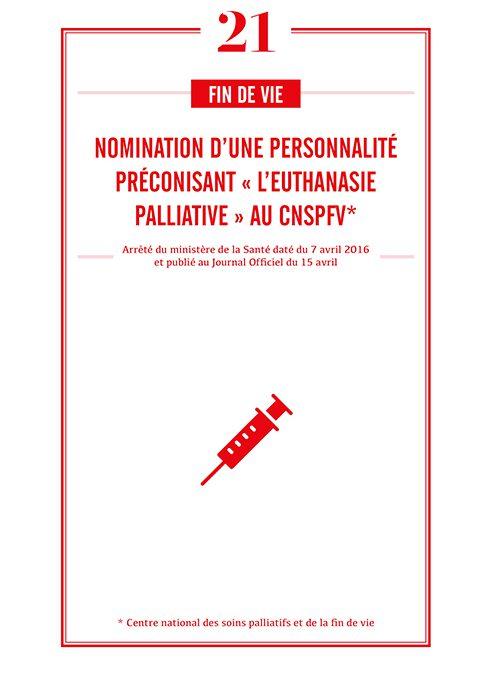 NOMINATION D'UNE PERSONNALITE PRECONISANT « L'EUTHANASIE PALLIATIVE » AU CNSPFV*