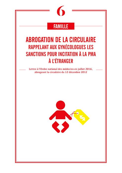 Abrogation circulaire rappelant aux gynécologues les sanctions pour PMA à l'étranger
