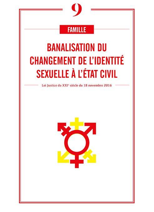 BANALISATION DU CHANGEMENT DE L'IDENTITE SEXUELLE A L'ETAT CIVIL